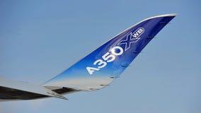 Winglet ajuntado do Airbus A350-900 XWB em Singapura Airshow Foto de Stock