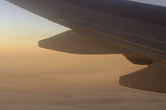 Winglet in sunset. Winglet of a boeing 747 in the sunset Royalty Free Stock Photo