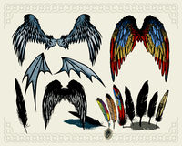 Wings. Isolated on light background. Additional vector format Illustrator 8 eps Stock Image