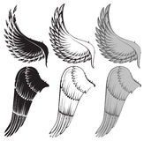 Wings. Vector black and white wings royalty free illustration