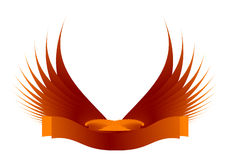 Wings. With label symbol over white Stock Photography