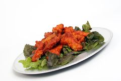 Wings. Plate of buffalo wings stock image