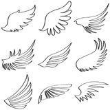 Wings of an angel, black and white wings of an ange. L. Flat design, vector illustration, vector Stock Photo