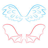 Wings of an angel and devil Royalty Free Stock Photo