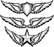 Wings and Badge Emblem Images. Shield and Wings Emblems  Illustration Stock Photography