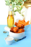Wings and Beer Royalty Free Stock Photography