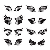 Wings black icons vector set (silhouettes). Minimalistic design. Stock Image