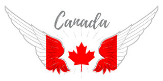 Wings with Canadian flag colors, maple leaf and inscription Canada. Vector illustration or badge Royalty Free Stock Photos