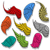 Wings collection set Stock Photos