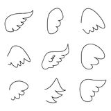 Wings collection vector illustration set. Wings collection. Vector illustration set with angel or bird wing icon  on white background Royalty Free Stock Photography