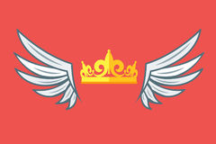 Wings with crowns. Vip club logo vector. Vector illustration Royalty Free Stock Image