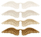 Wings. Digital illustration of wings. Isolated on white, they are ready to be composited with other images Royalty Free Stock Images