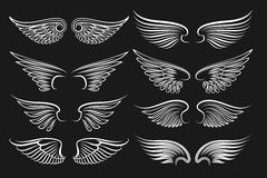 Wings emblem black elements. Vector angels and birds winged labels Royalty Free Stock Image