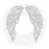 Wings feather. Pattern for coloring book. Royalty Free Stock Image