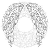 Wings feather. Pattern for coloring book. Stock Photography