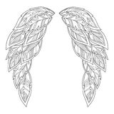 Wings feather. Pattern for coloring book. Royalty Free Stock Images