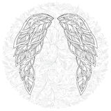 Wings feather. Pattern for coloring book. Royalty Free Stock Photos