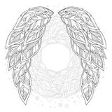 Wings feather. Pattern for coloring book. Royalty Free Stock Photo