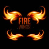 Wings in Flame and Fire. Illustration on black Stock Photos