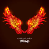 Wings And Flame. Red and yellow bright glowing ornamental wings in fire hand drawn vector illustration Stock Image