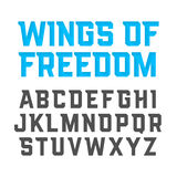 Wings Of Freedom modern style font Royalty Free Stock Photo