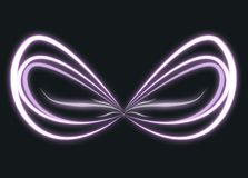 Wings of glowing purple light. Wings made of glowing beams of white and violet light on a dark background Stock Photography