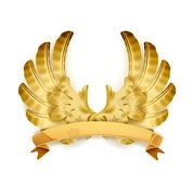 Wings golden emblem Stock Photo