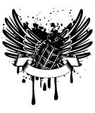 Wings with grenade. Vector image design of a T-short wings with  grenade Royalty Free Stock Image