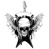 Wings guitar skull_var 3. Vector illustration grunge skull in bandana and electric guitar on wings and dirty background. Hard rock sign. Design for t-shirt or Royalty Free Stock Image