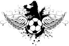 Wings Heraldic black Wolf tattoo soccer futbol crest. In vectro format very easy to edit Royalty Free Stock Image