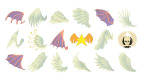 Wings icon set, cartoon style. Wings icon set. Cartoon set of wings vector icons for web design isolated on white background stock illustration