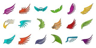 Wings icon set, color outline style vector illustration