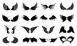 Wings Icons. Set of wings icons in black vector illustration