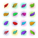 Wings icons set, pop-art style Stock Photos