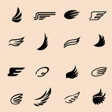 Wings icons set. Wings icons vector set. Wings. Set of design elements Stock Images