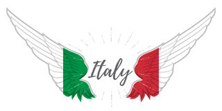 Wings with Italy flag colors on white background. Stock Photo