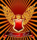 Wings label. Vector medieval label with shield, crown and wings Stock Photo