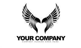 Wings Logo. An illustration of a business company logo representing abstract black wings on white background Royalty Free Stock Images