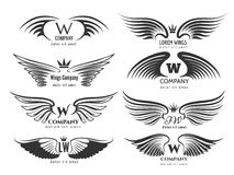 Wings logotype set. Bird wing or winged logo design  on white background Stock Images