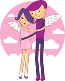 Wings of love. Cartoon boy and girl in love Royalty Free Stock Photo