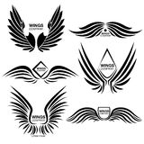 Wings Monochrome Logo Elements Set. Set of monochrome modern logo elements with wings in different position and letterings  vector illustration Royalty Free Stock Photos
