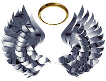 Wings and nimbus. Wings and nimbus made of metal and gold isolated on white background. Easy to use and transform, can be used separately. 3d royalty free illustration