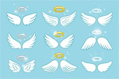 Wings and nimbus. Angel winged glory halo cute cartoon drawings vector illustration. On blue background stock illustration
