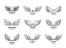 Wings outline black logo vector set. Part two. Wings outline black logo vector set. Vintage design. Part two Stock Image