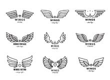 Wings outline black logo vector set. Part one. Wings outline black logo vector set. Vintage design. Part one Royalty Free Stock Photography