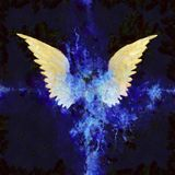 Wings Painting. Off WHite and Blue Stock Photo