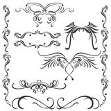 Wings, patterns and frames. A diverse set of ornaments and vignettes, can be used as a tattoos Royalty Free Stock Photography