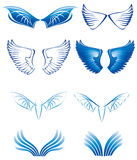 Wings set. Set blue wings in different styles Stock Images