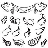 Wings. Set of design elements. Royalty Free Stock Images
