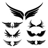 Wings. Set of design elements. Vector illustration. Stock Images